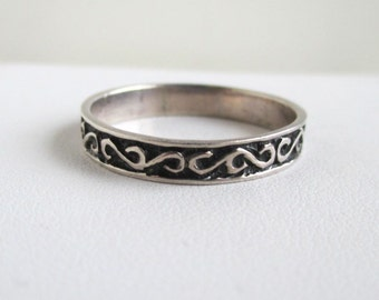 925 Sterling Silver Mens Ring / Band - Vintage Stock, Size 13