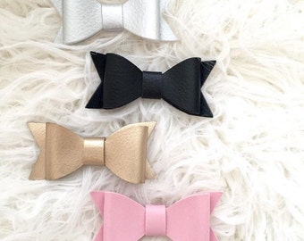 Faux leather bows, bow clips, pigtail bows, bow clippy, classic bow, Valentines Day