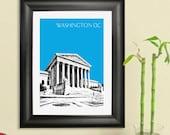 Washington DC Skyline Poster - Supreme Court - Washington DC City Skyline - Art Print - 8 x 10 Choose Your Color