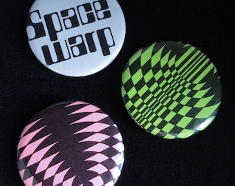 Gamma Rays - XL badge trio with op-art and typography prints