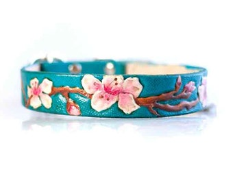 Custom Tooled Leather Dog Collar Cherry Blossoms Dog Collar - Carved Leather Collar - Floral Dog Collar - 1 inch teal pink Collar for Dogs