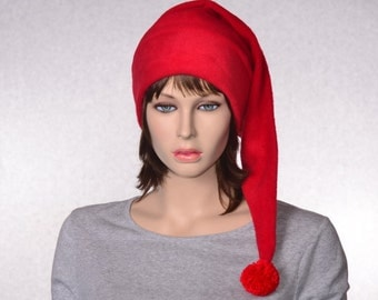 Bright Red Stocking Cap Fleece Hat Extra Long  Christmas Elf Hat Solid Red Santa Hat