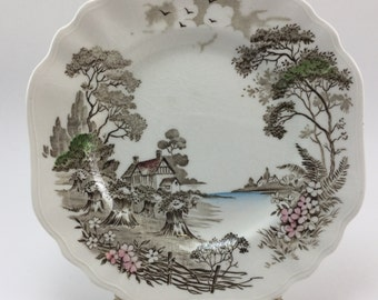 Vintage JG Meakin England Olde Avon Dale English Staffordshire Bread Salad Plate Dish