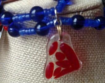 Cobalt and red bracelet