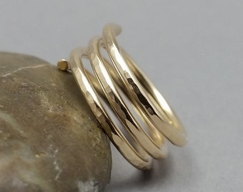 14K Yellow Gold Filled Triple Band Ring