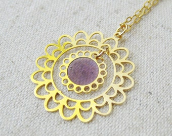 Purple Flower Upcycled Pendant Necklace