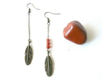 Red berry Feather earrings ( carnelian beads, inca queen, indian, antique, bohemian ) 10
