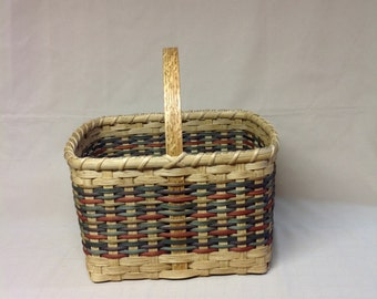 Square Market Style Basket - Hand Woven,  Shades of Browns, Rust and Green Accent Rows