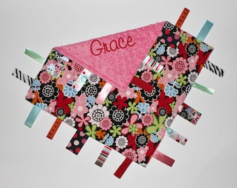 PERSONALIZED Ribbon Tag Blanket, Minky Baby Blanket, Bright Flowers, Large 16 x 16, Pacifier Clip