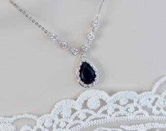 Bridal Necklace, Blue Sapphire Necklace, White and Blue Sapphire Cubic Zirconia Bridal Necklace, Something Blue Bridal, Bridesmaids Necklace