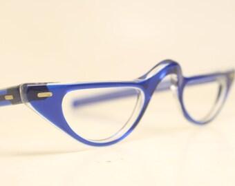 Blue Cat eye reading glasses vintage glasses frames cat eye readers