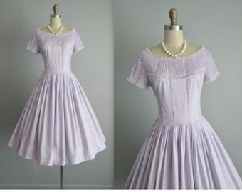 50's Summer Dress // Vintage 1950's Lavender Pintuck New Look Full Summer Dress S