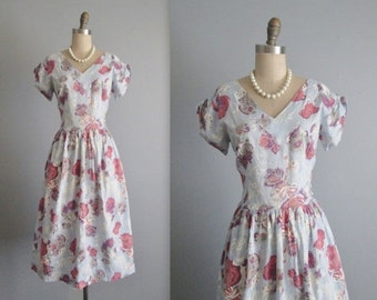 STOREWIDE SALE 50's Floral Dress // Vintage 1950's Floral Print Full Cotton Garden Party Day Dress