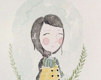 6X9 original watercolor of girl