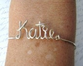 Custom Name Bracelet Personalized Name Jewelry Any Word or Name Custom Bracelet Silver or Gold Bridesmaid Friendship Jewelry Gifts Under 20