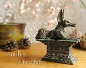 Anubis the Jackal Altar Statue - Handcrafted Kemetic Votive Statue - Anpu - Ancient Egyptian God of the Underworld - Bronze Patina Finish