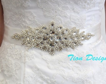 Bridal Rhinestone Sash | Beaded Crystal Sash | Couture Brides Belt, SB-02
