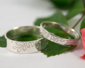 White Gold Oak Wedding Bands: A Set of his and hers 9k White Gold wedding rings