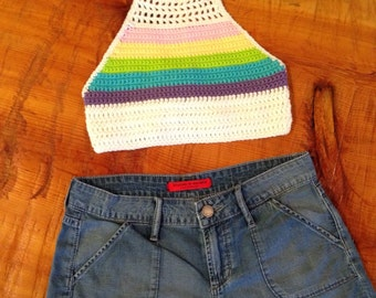 Crochet Pastel Rainbow Halter Top