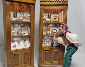 The Dolls House Miniature Pair of Walnut style Museum / Collector's Collection
