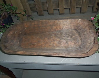 Large Hand Carved Wood Dough Bowl,  Flat Bottom,  Rustic, Primitive