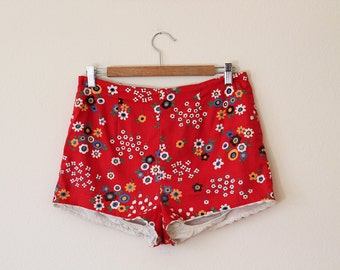 1960s Red Floral Bikini Shorts // Large