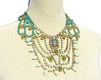 Hand Painted Vintage Rhinestone Necklace, Rhinestone Bib Necklace
