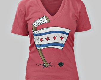 Chicago Blackhawks Chicago Flag Women's V-Neck T-Shirt