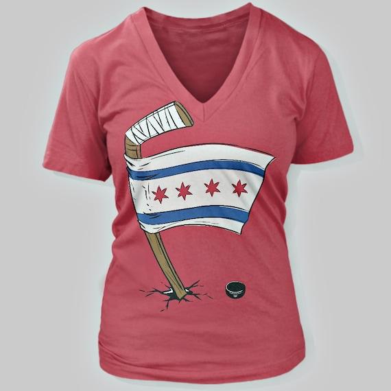 Chicago Blackhawks Chicago Flag Women 39 S V Neck T Shirt