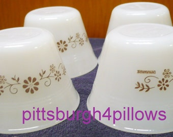 4 - Dynaware - Brown Floral Pattern - Termocrise - EUC - Custard Cups - 3 1/2 x 2 3/8 - Price Is For All