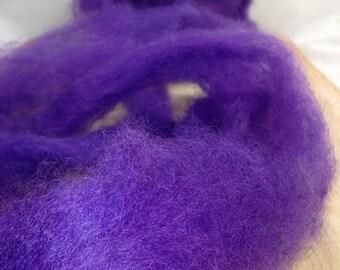 Romney Finn roving, spinning wool felting, wet felt, hand dyed, purple 8 oz