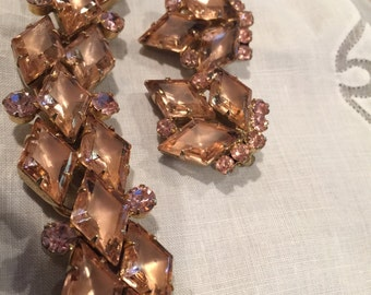 REDUCED SALE Juliana Rose Rhinestones Set Diamond Shaped Bracelet And Earrings