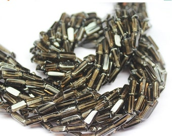 VALENTINE SALE 55% Natural Smoky Quartz Smooth Rectangle Beads, 13 Inches, 8-10mm, SKU2628f