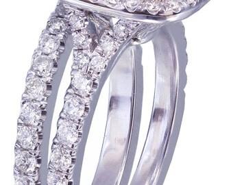 14K White Gold Cushion Cut Diamond Engagement Ring And Band 1.90ct I-VS2 EGL USA