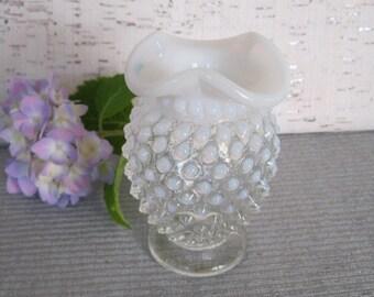 Mini Bud Vase / Moonstone Opalescent Hobnail Vase