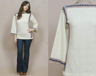 Hippie Sweater 70s Cream Knit Bell Sleeve Striped Ethnic Boat Neck 1970s Boho Fitted Long Length Tunic Jumper / Size S M Small Medium