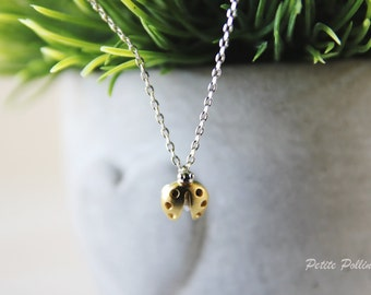 Ladybug Necklace in Matte Silver/ Gold. Charm Necklace. Birthday Gift. Sweet 16. Everyday Wear. Gift For Her (PNL-63)