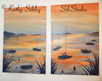 Sunset Boat Painting, Large Diptych Original Painting, Two 24 x 36 inches Acrylic Paintings Create One Image, Nautical Sunset Home Decor Art