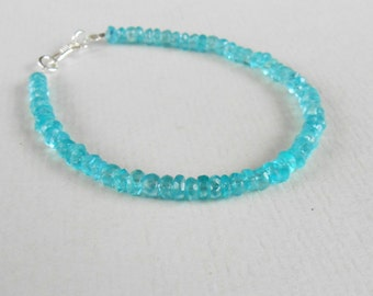 Genuine blue azure Apatite bead bracelet with  silver 925 clasp / 7 inch