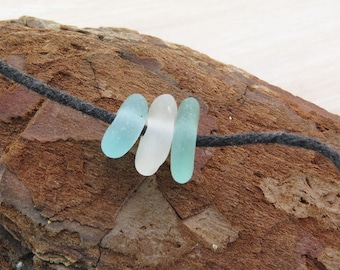 Small Center Drilled Sea Glass 3 pcs-Sea glass beads- Center drilled beach glass- Organic pebbles Jewelry Supplies