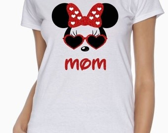 Women's Ladies Fit Personalized Minnie Mouse Heart Glasses with Your NAME or MOM on White Cotton T-Shirt - Disney Family Shirts - Disney Mom