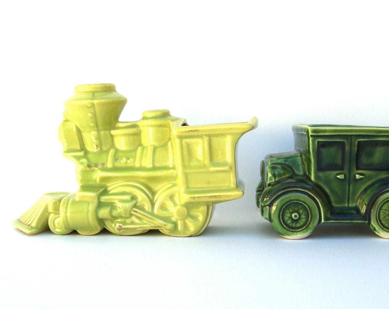 Small Car Planters : Vintage ceramic train and car planter vase nursery boys room