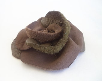 olive green taupe leather flower rose hat pin, brooch by Tuscada. Ready to ship.