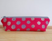 Modern Zipper Pouch, Modern Pencil Case, Pink Makeup Bag, Back to School Supplies, Pink Pencil Case, Mod Cosmetic Bag, Fuchia Zipper Pouch