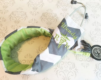 Embroidered Stethoscope Cover - Registered Nurse - Gift for Nurse, RN, Vet Tech, Paramedic, EMT - Dark Gray Chevron with Green