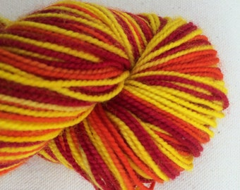 Red, Yellow, and Orange Self Striping Sock Yarn Superwash Merino Fingering Weight