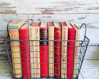 Tan & Red Books Instant Library Collection Decorative Vintage Book Bundle Photography Props Beige French Country Neutral