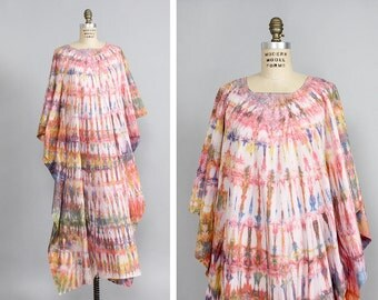 Tie Dye Caftan • Beach Caftan • Tie Dye Maxi Dress • Boho Caftan • Summer Cotton Dress • Long Caftan • Cotton Caftan • Tie Dye Dress | D853