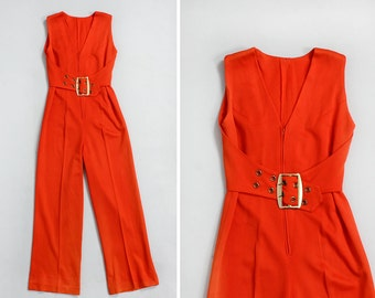70s Jumpsuit XS/S • Red Jumpsuit with Gold Buckle Belt • Wide Leg Jumpsuit • Disco Jumpsuit • Coral Romper • Glam Rock Sexy Jumpsuit | D817