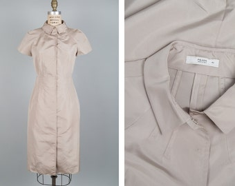 Khaki Dress S/M • Prada Dress • Silk Dress • Cap Sleeve Dress • Button Up Dress • Collared Dress • Shirtdress Made in Italy  | D974